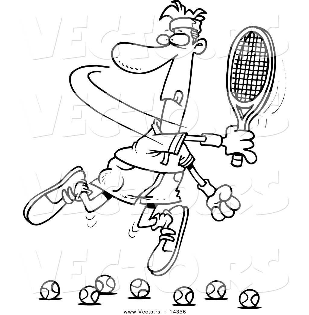 vector of a cartoon male tennis player trying to hit balls coloring page outline