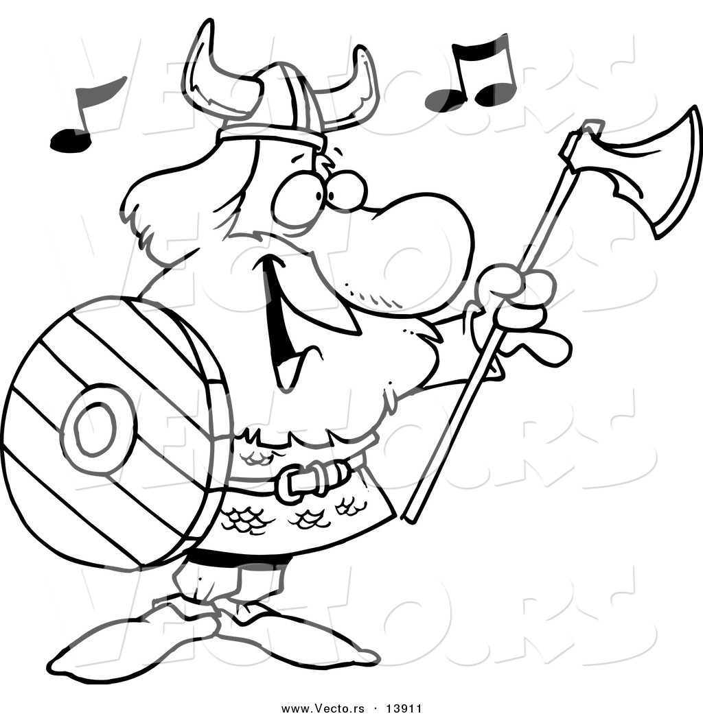 vector of a cartoon male viking holding an ax and shield and