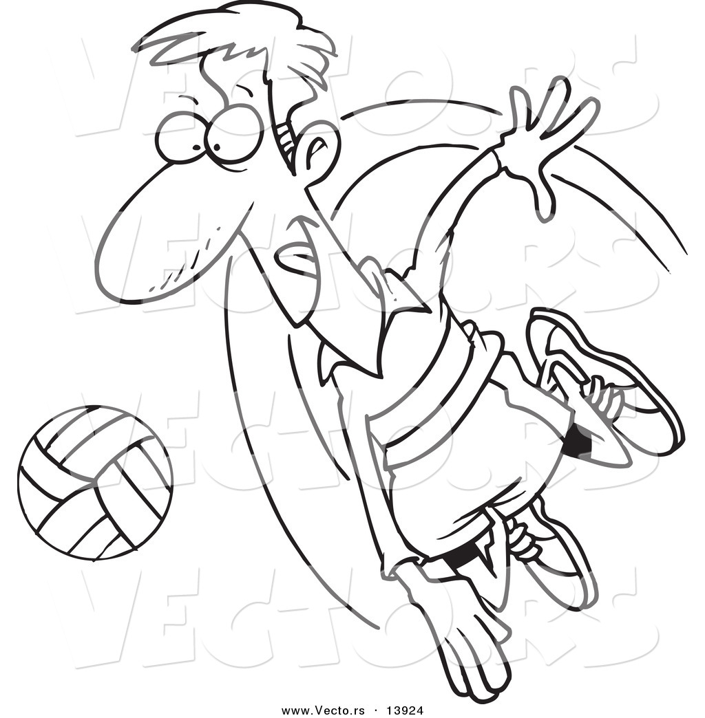 Coloring pages volleyball - Vector Of A Cartoon Male Volleyball Player Hitting A Ball Coloring Page Outline