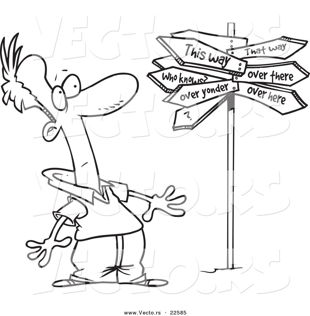 Vector Of A Cartoon Man At A Crossroads With A Crazy Sign