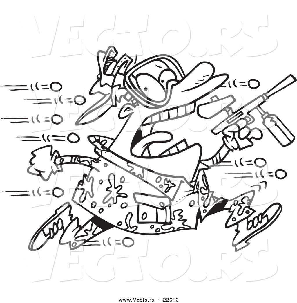 vector of a cartoon man being hit with paintballs coloring page paint splatter coloring pages