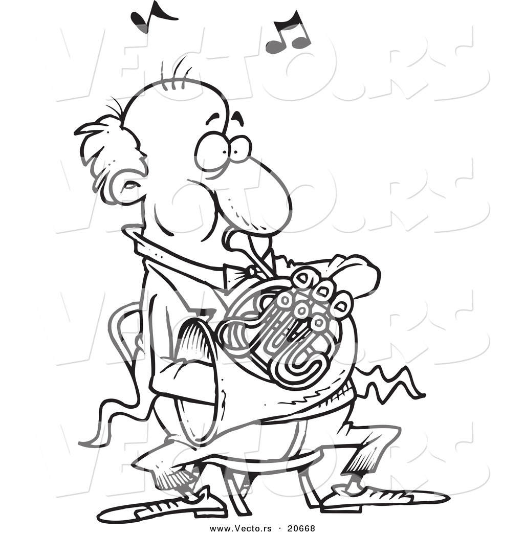 Vector of a Cartoon Man Blowing into a French Horn - Coloring Page ...