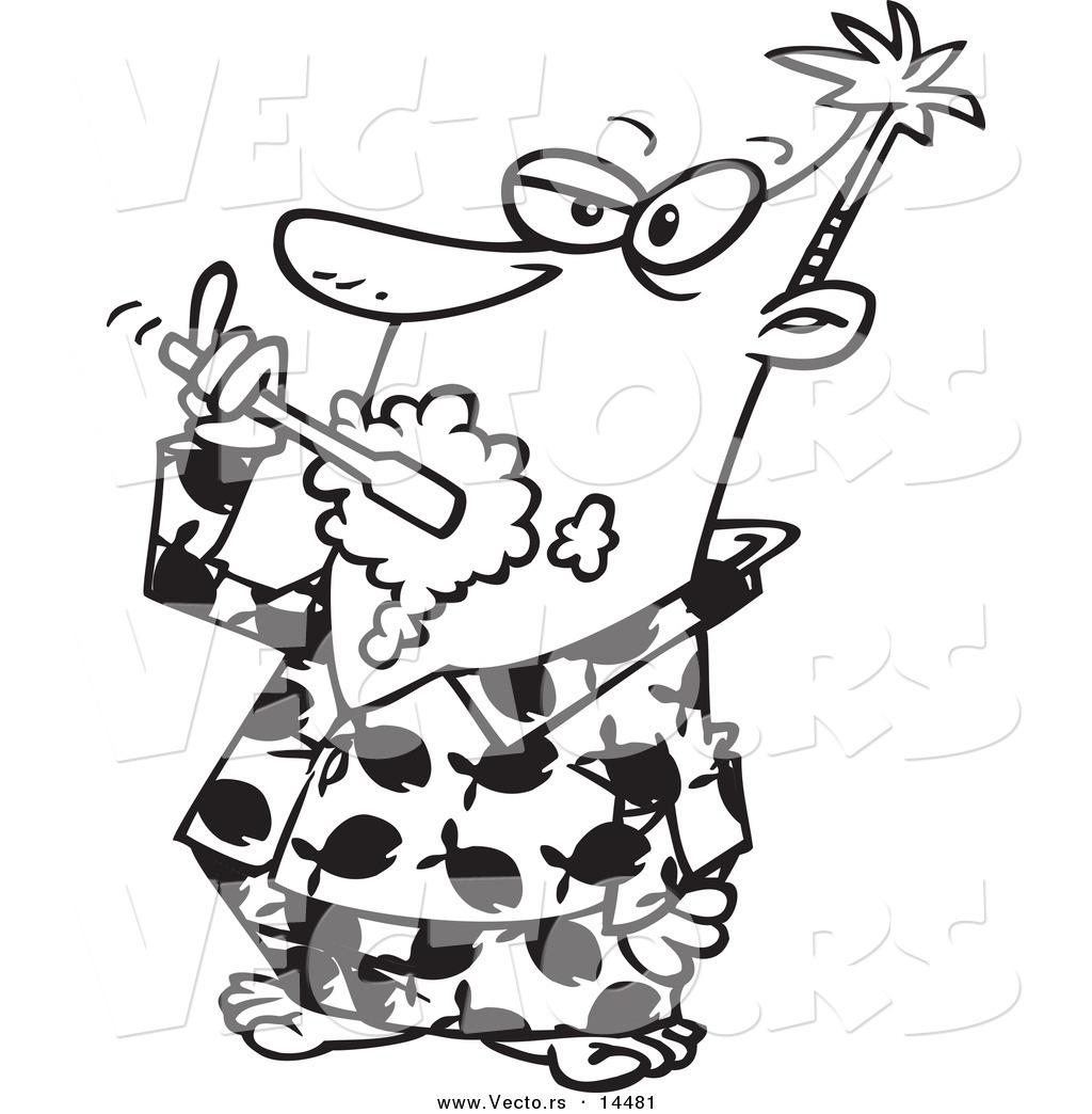 vector of a cartoon man brushing his teeth in his fish pajamas