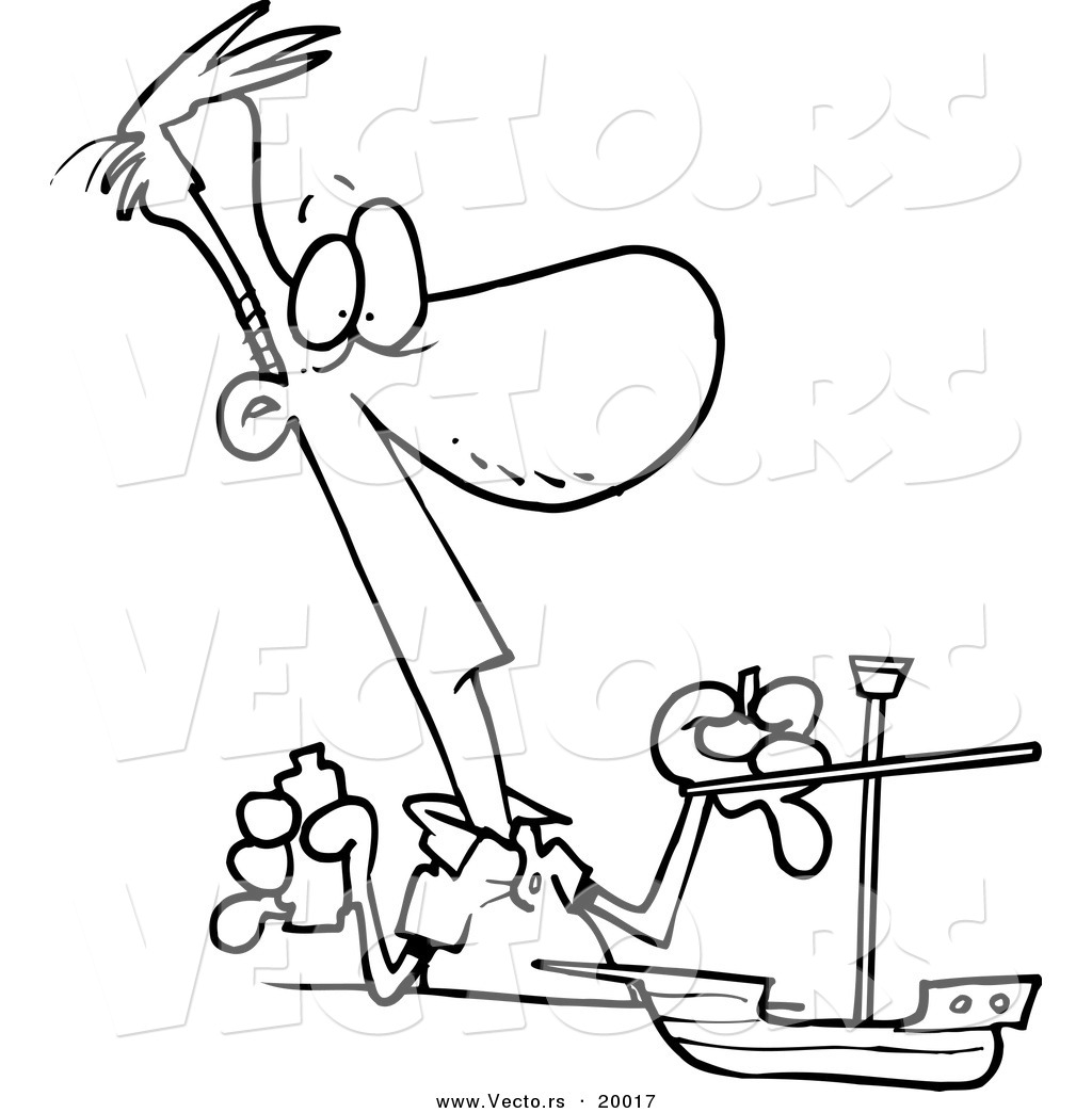 vector of a cartoon man building a model boat outlined coloring