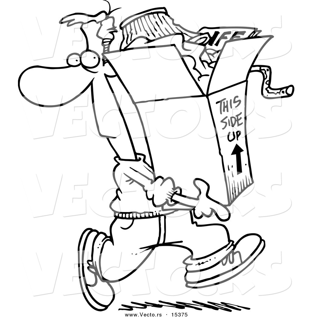 Vector of a Cartoon Man Carrting a Box of Junk - Coloring Page ...