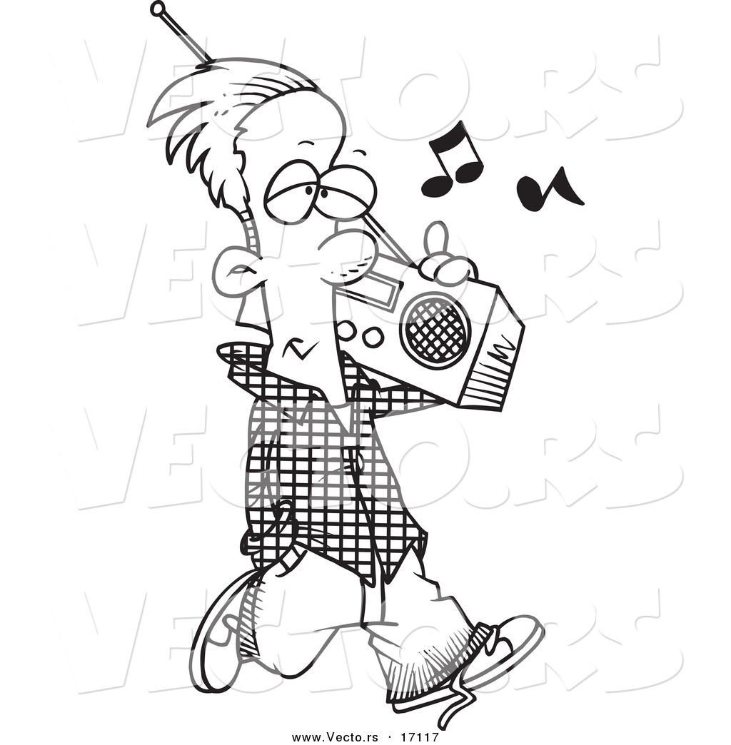 Vector of a Cartoon Man Carrying a Boom Box Coloring Page Outline