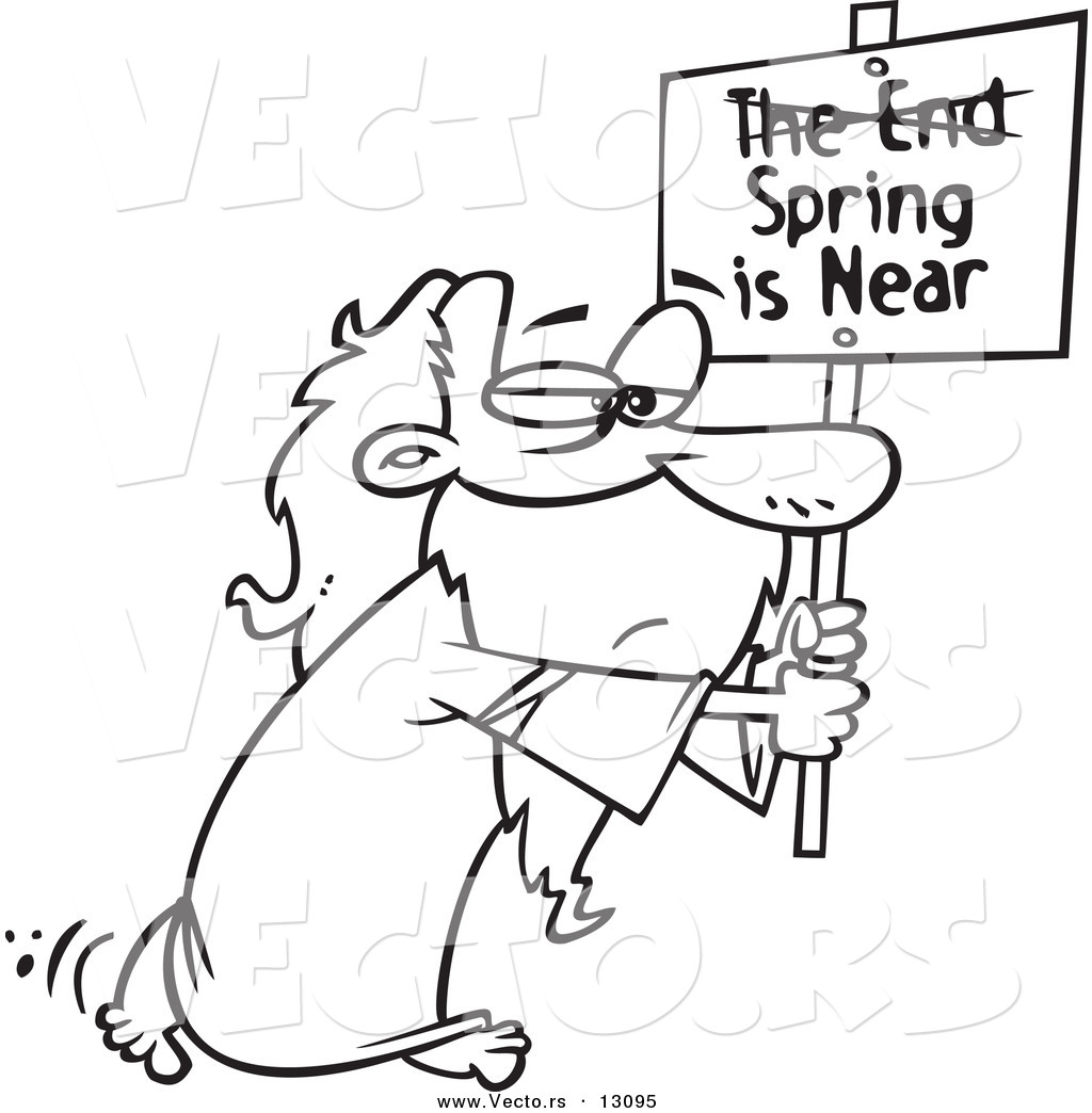 vector of a cartoon man carrying a spring is near sign with the