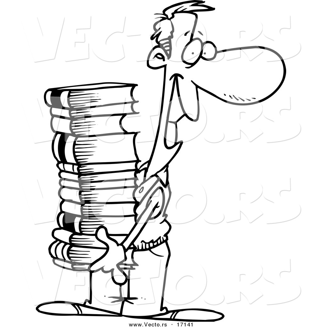 vector of a cartoon man carrying a stack of books coloring page