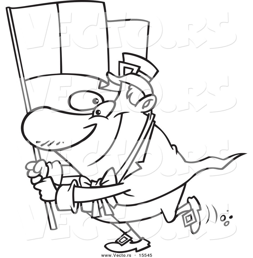 Vector Of A Cartoon Man Carrying An Irish Flag