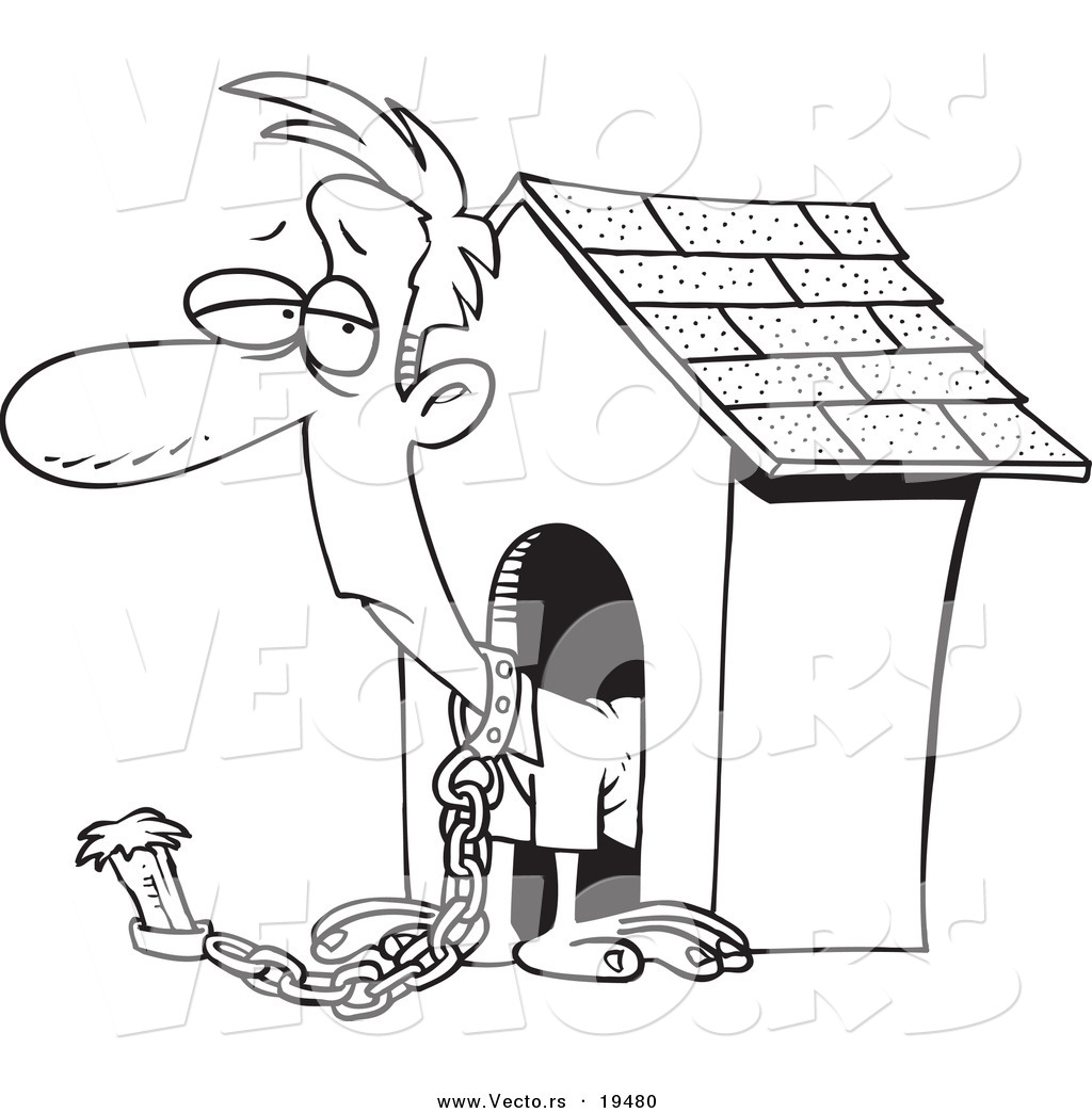 Vector of a Cartoon Man Chained by a Dog House - Outlined Coloring ...