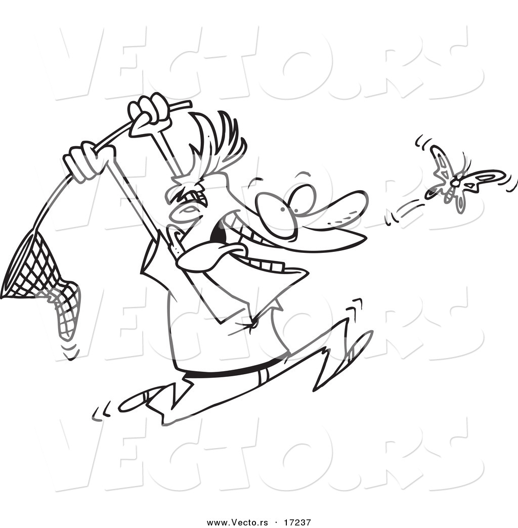 vector of a cartoon man chasing a butterfly with a net coloring