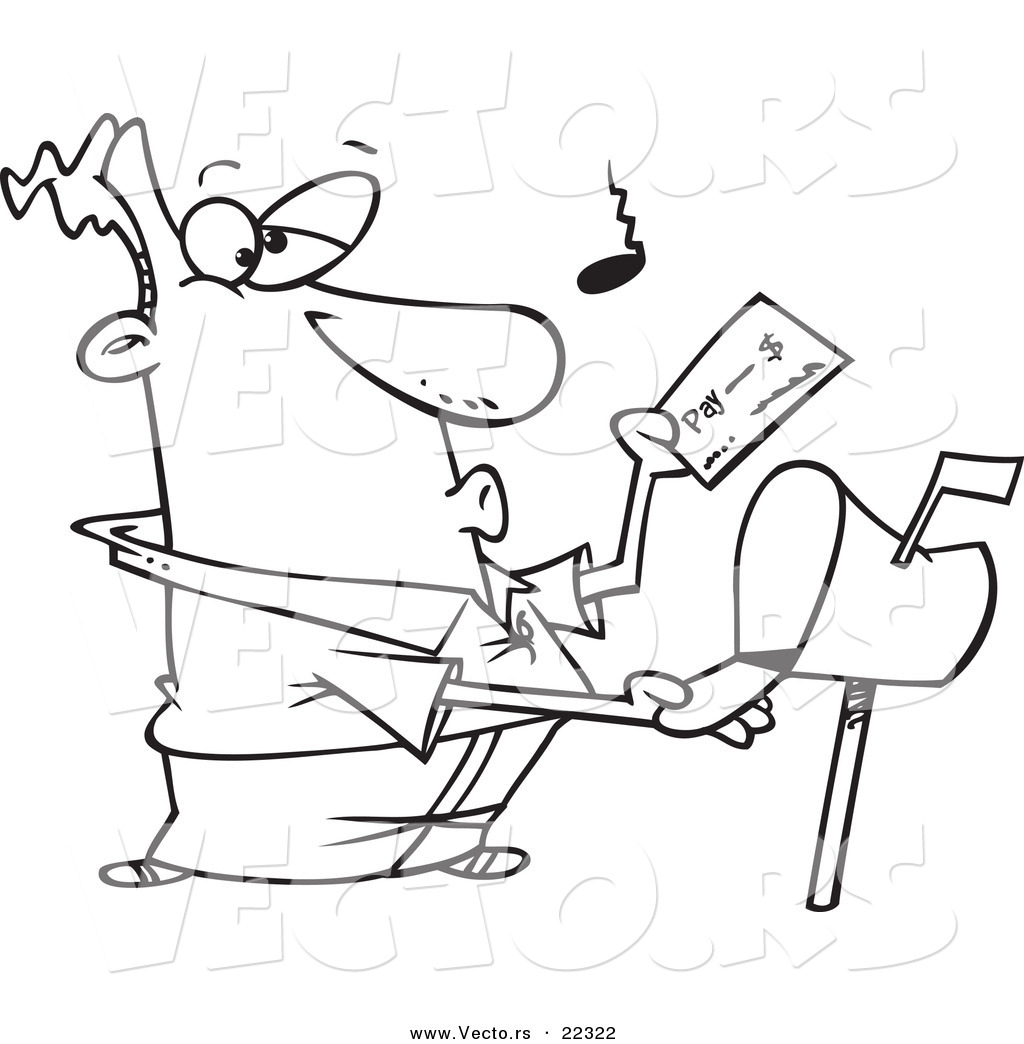 Free coloring pages by mail - Vector Of A Cartoon Man Checking His Mail Coloring Page Outline