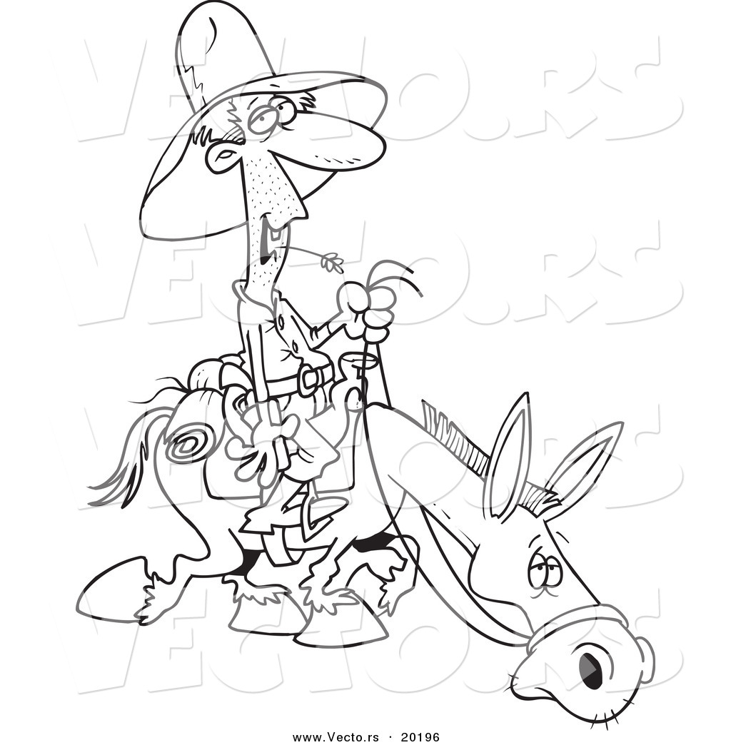 vector of a cartoon man chewing on straw and riding a horse