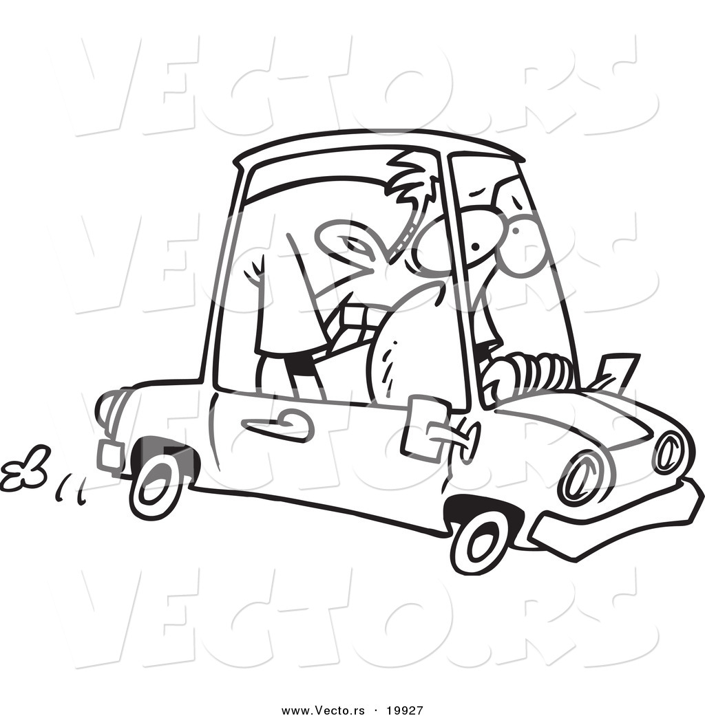 vector of a cartoon man cramped into his mini car outlined