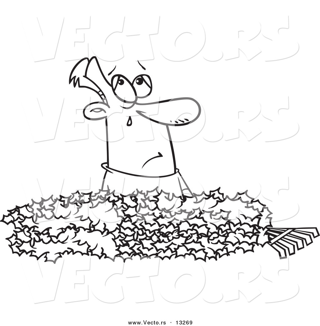vector of a cartoon man crying in a pile of autumn leaves