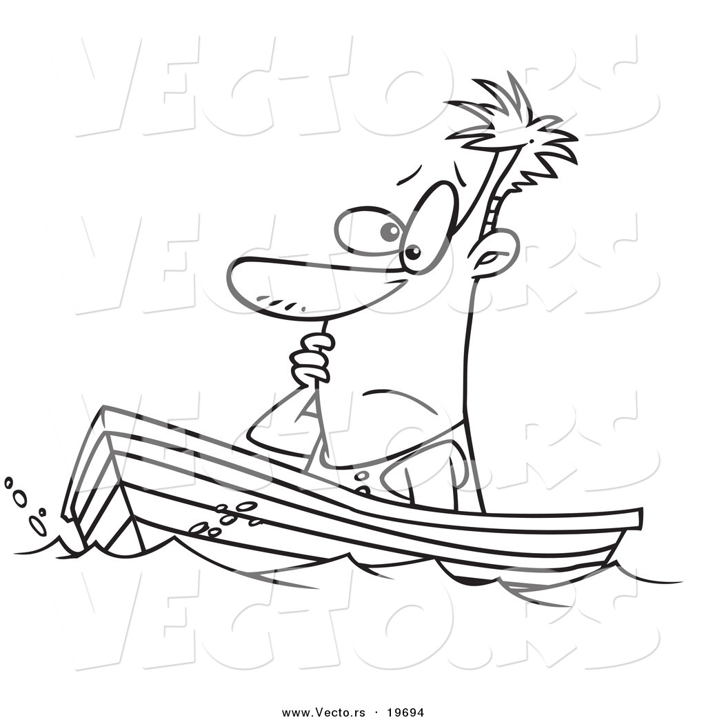 vector of a cartoon man drifting in a boat outlined coloring