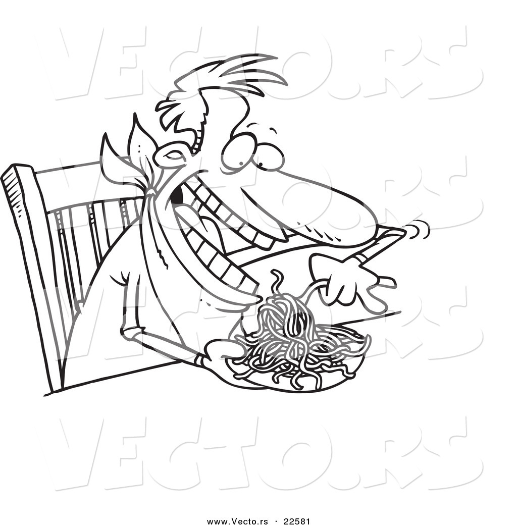 Vector of a Cartoon Man Eating Spaghetti at a Table - Coloring ...