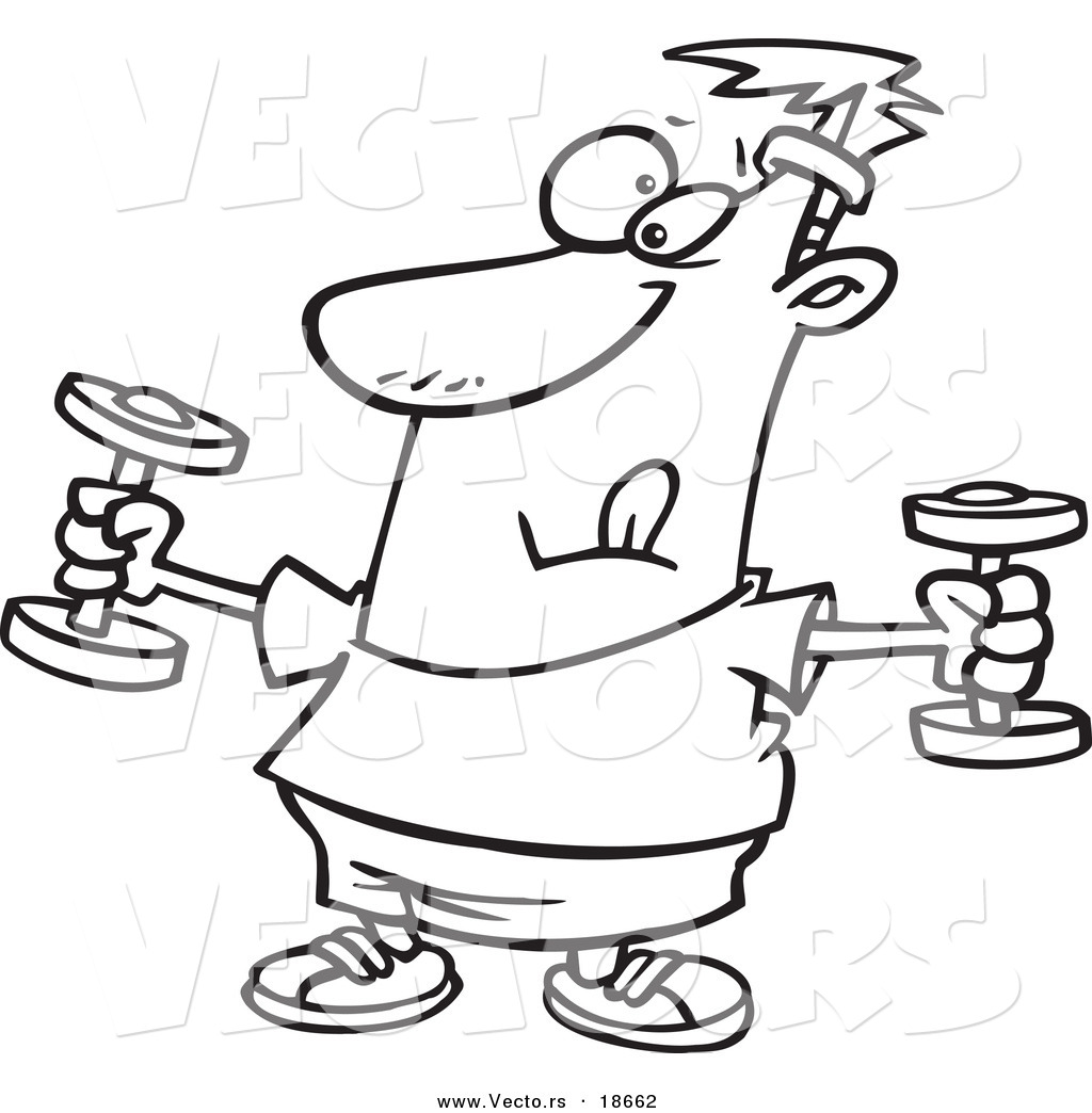 Free coloring pages for exercise - Vector Of A Cartoon Man Exercising With Dumbbells Outlined Coloring Page