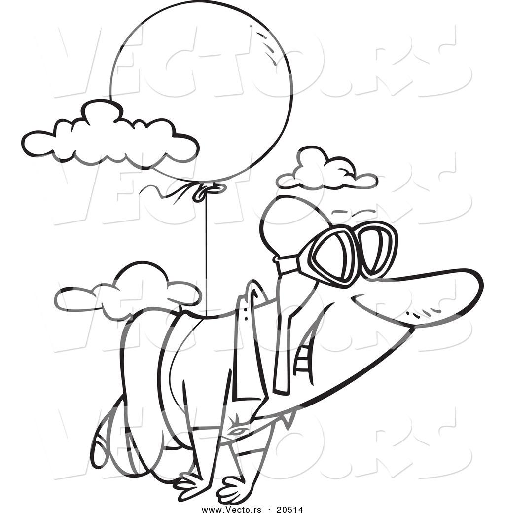 vector of a cartoon man floating through the sky with a balloon