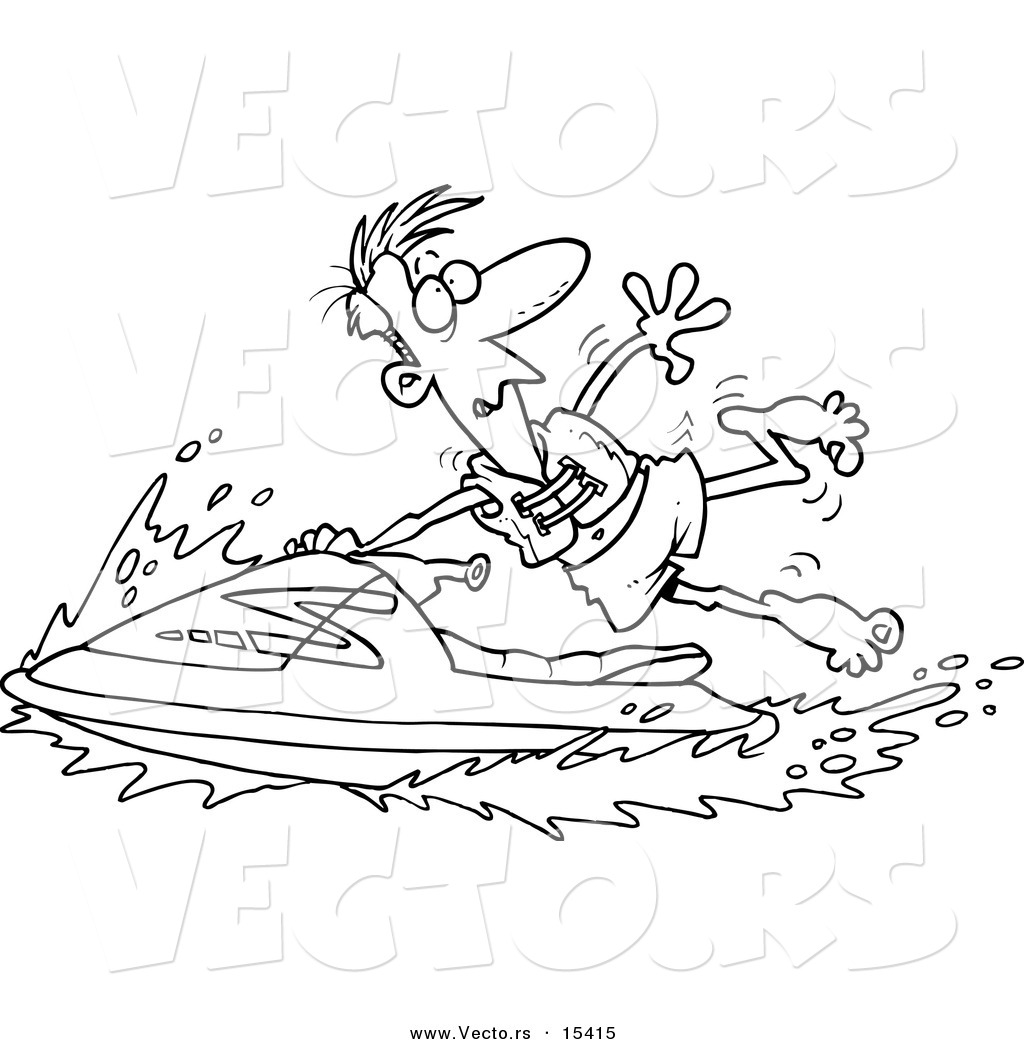 vector of a cartoon man hanging onto a jetski coloring page