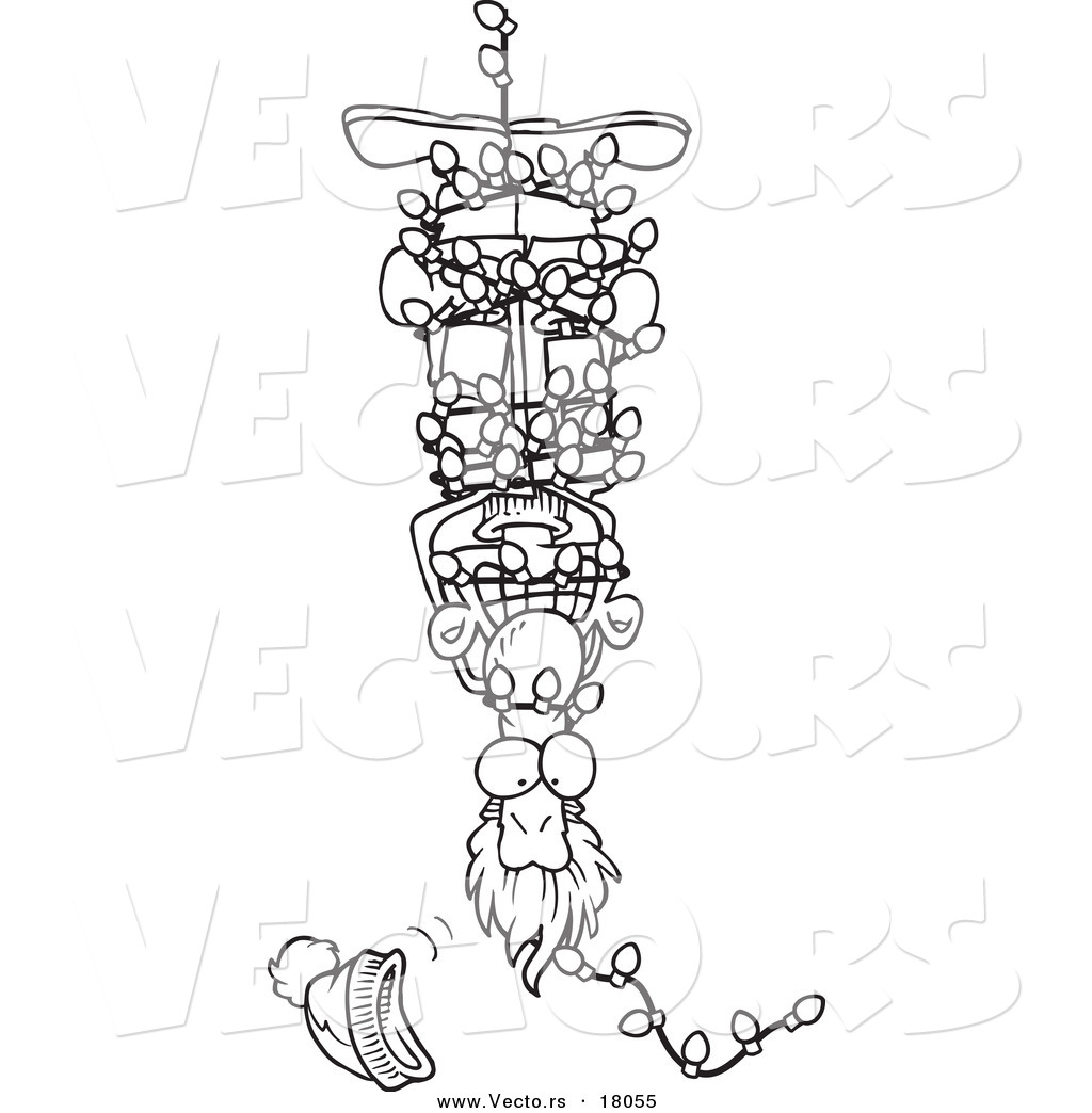 vector of a cartoon man hanging upside down and tangled in christmas lights