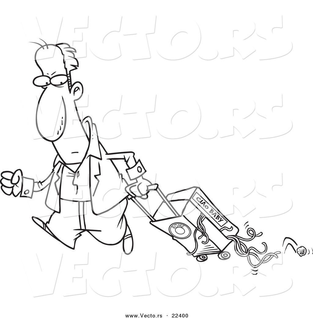 vector of a cartoon man hauling spaghetti in his suitcase coloring page outline