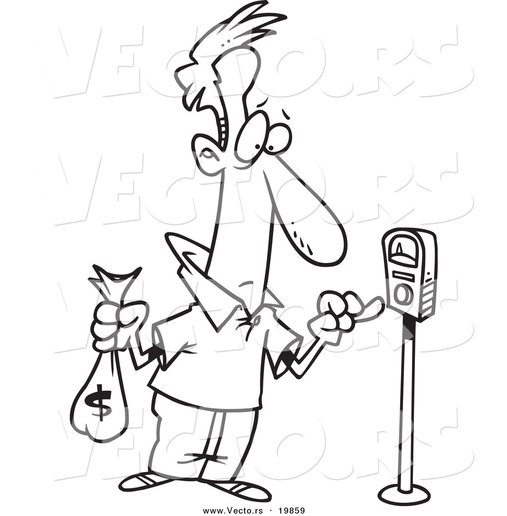 vector of a cartoon man holding a money bag and paying a parking