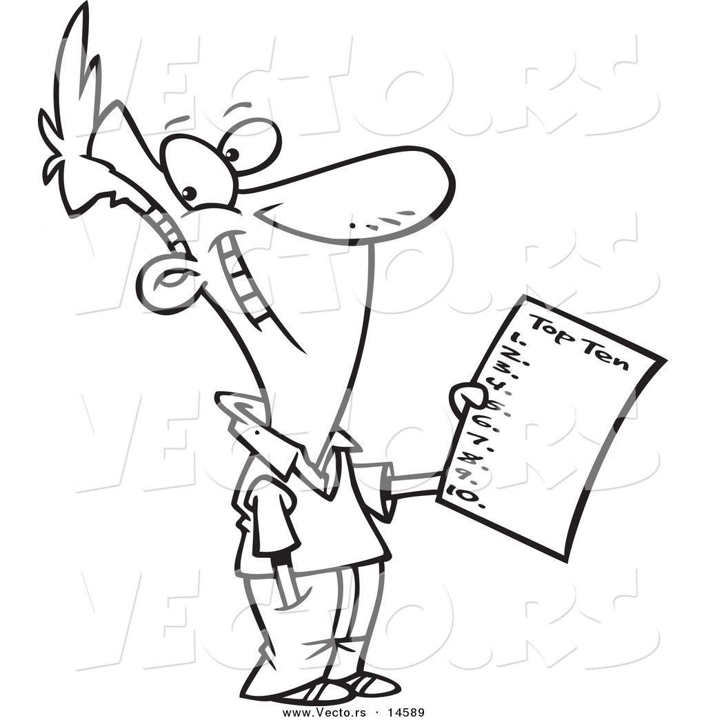 vector of a cartoon man holding a top ten list coloring page