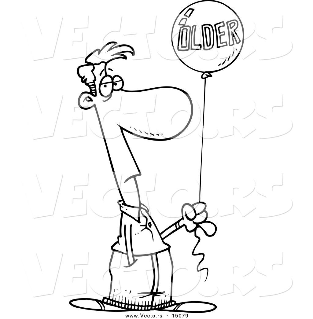 Vector of a Cartoon Man Holding an Older Birthday Balloon ...