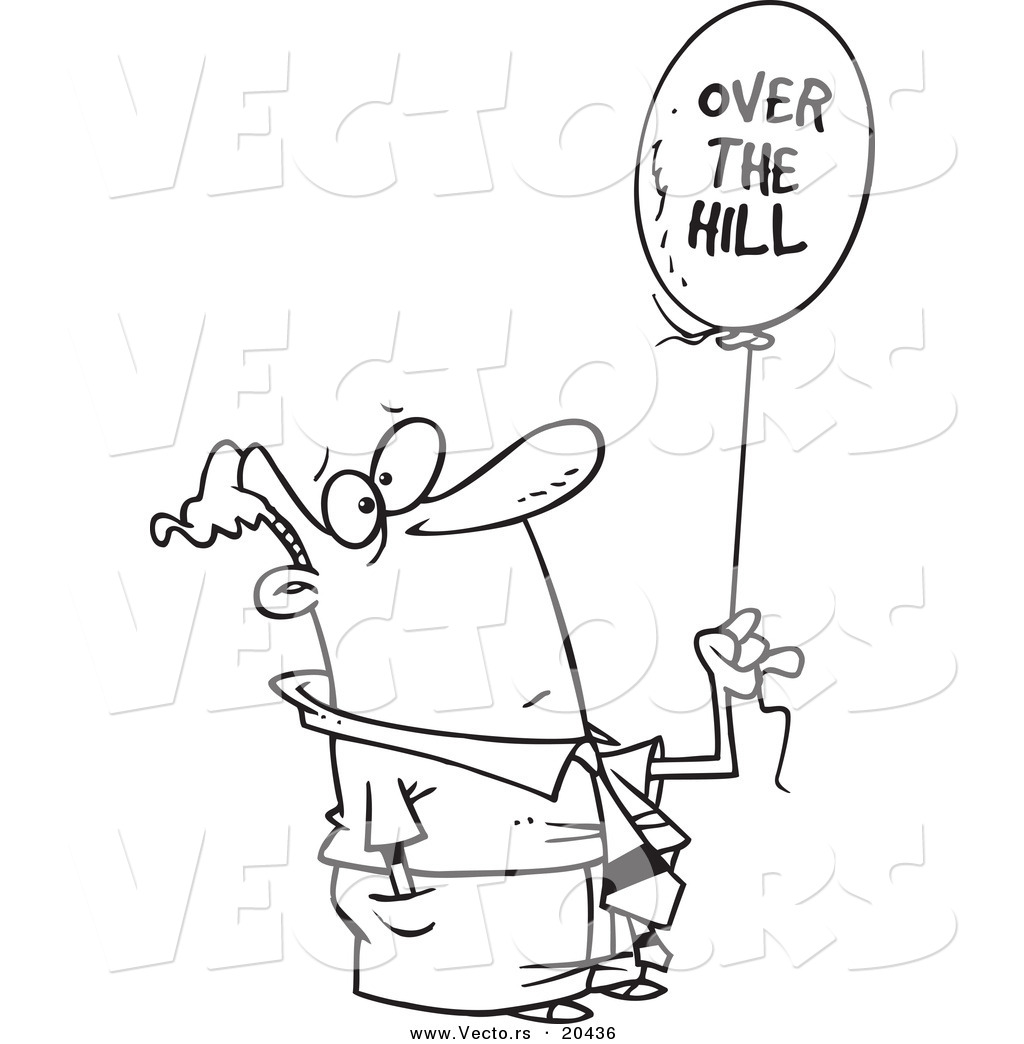 vector of a cartoon man holding an over the hill balloon