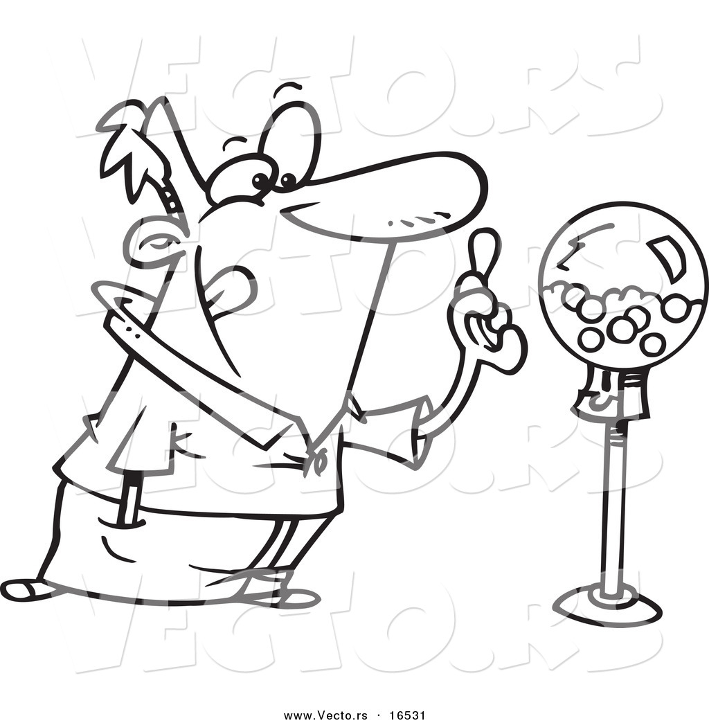 bubbles coloring page vector of a cartoon man holding gum by a