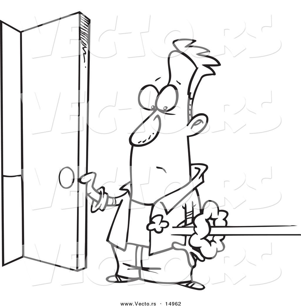open door clipart black and white. Vector Of A Cartoon Man Holding Open Door As Someone Shoots In - Coloring Page Clipart Black And White