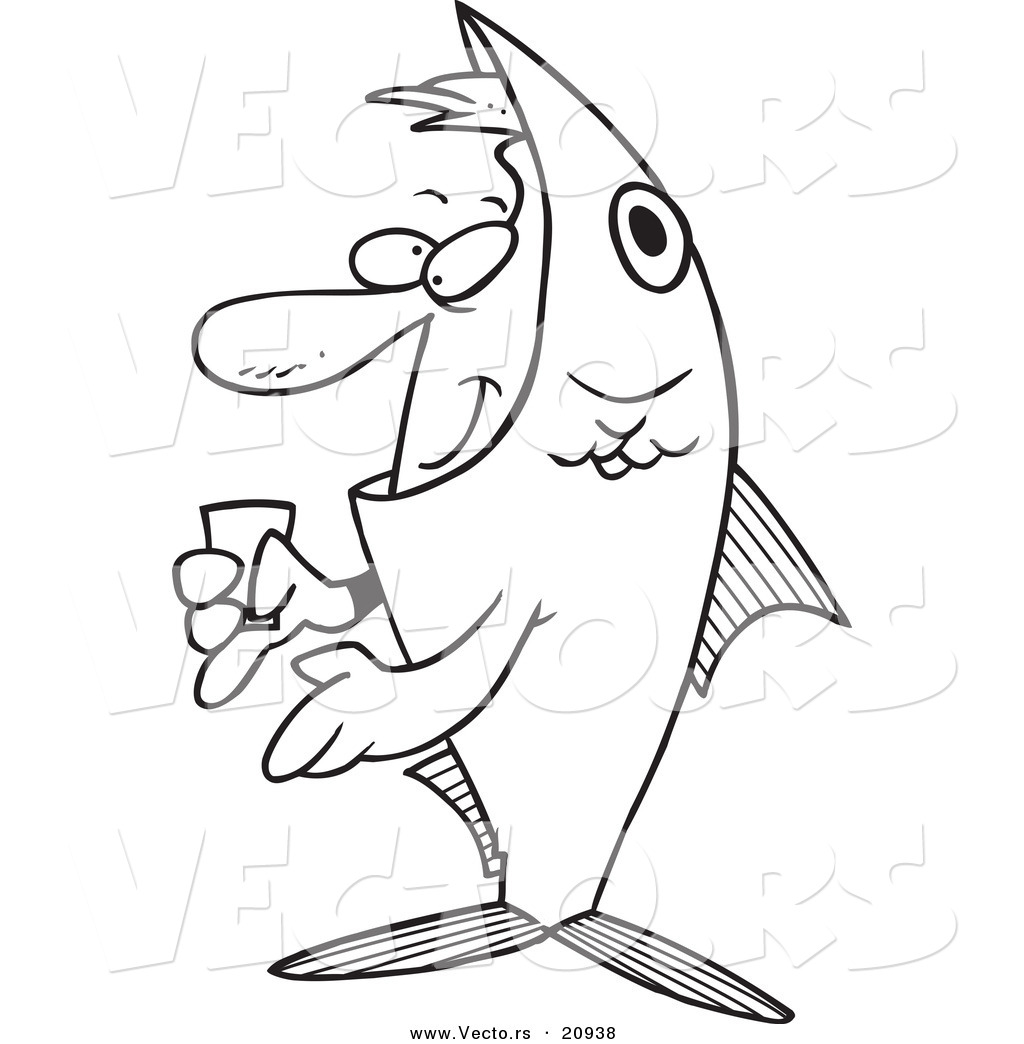 Vector of a Cartoon Man in a Fish Costume  Coloring Page Outline