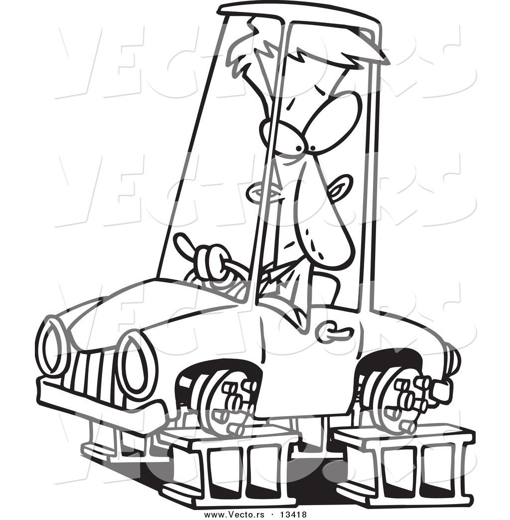 Vector Of A Cartoon Man In A Tireless Car On Blocks