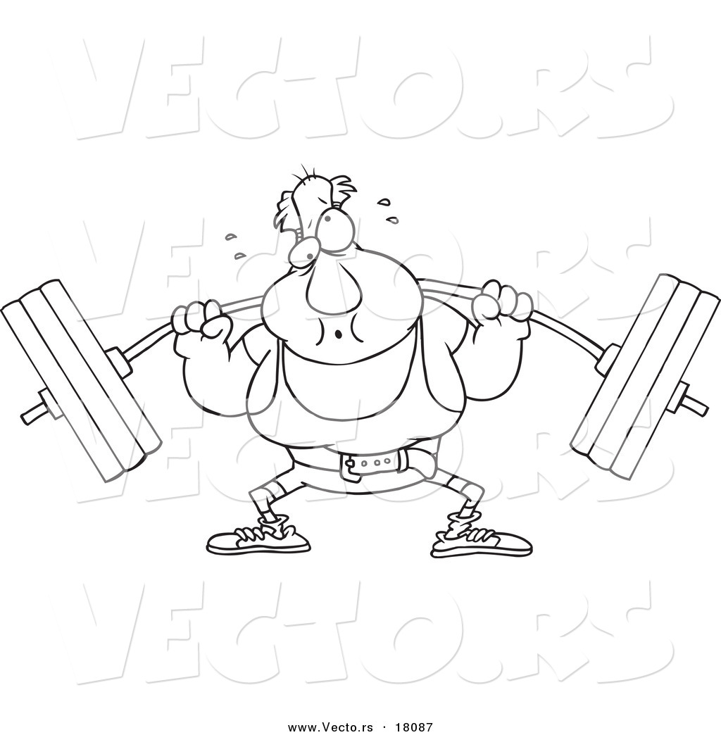 Vector of a cartoon man lifting a barbell outlined for Weightlifting coloring pages