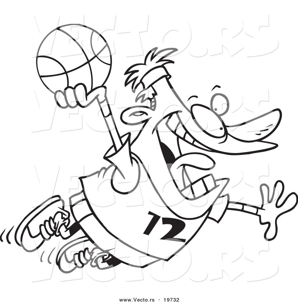 Vector Of A Cartoon Man Making A Slam Dunk