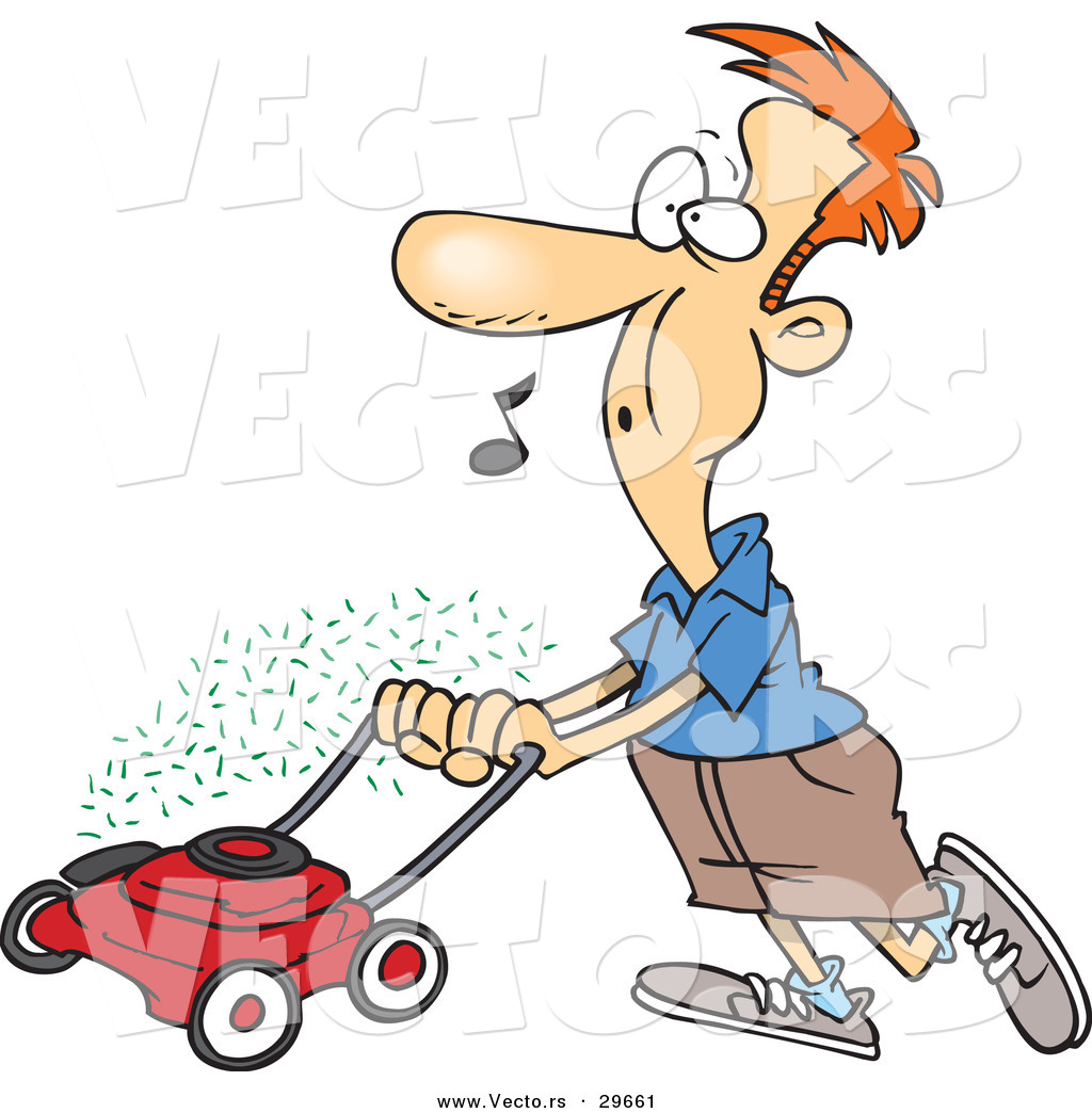 Cartoon Man On Mower : Vector of a cartoon man mowing lawn while whistling by ron