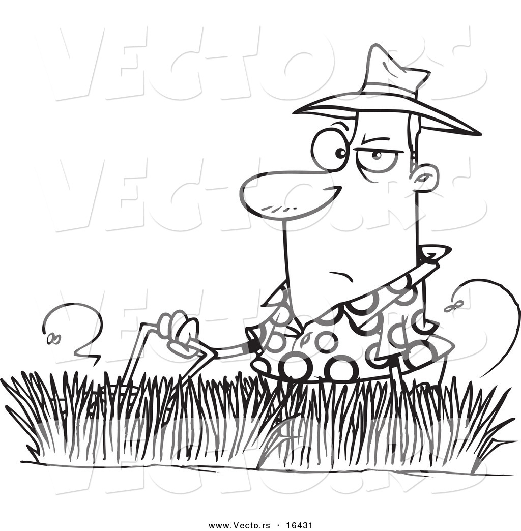 Coloring pages grass - Vector Of A Cartoon Man Mowing Tall Grass Outlined Coloring Page Drawing