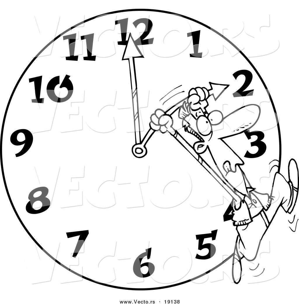 Vector of a Cartoon Man on a Daylight Savings Clock  Outlined