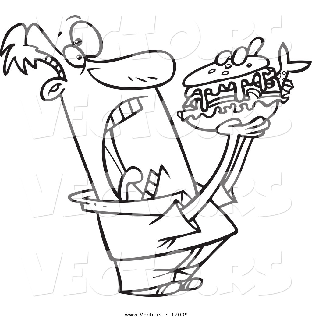 Clip Art Sandwich Coloring Pages vector of a cartoon man opening wide for sandwich coloring page outline