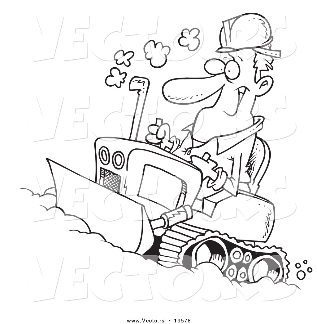 vector of a cartoon man operating a bulldozer outlined coloring page - Bulldozer Coloring Pages
