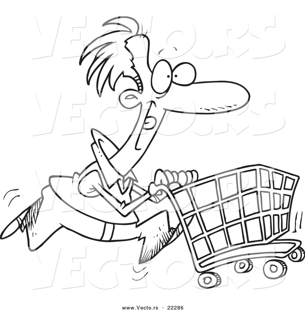 Vector of a Cartoon Man Pushing a Shopping Cart - Coloring Page Outline