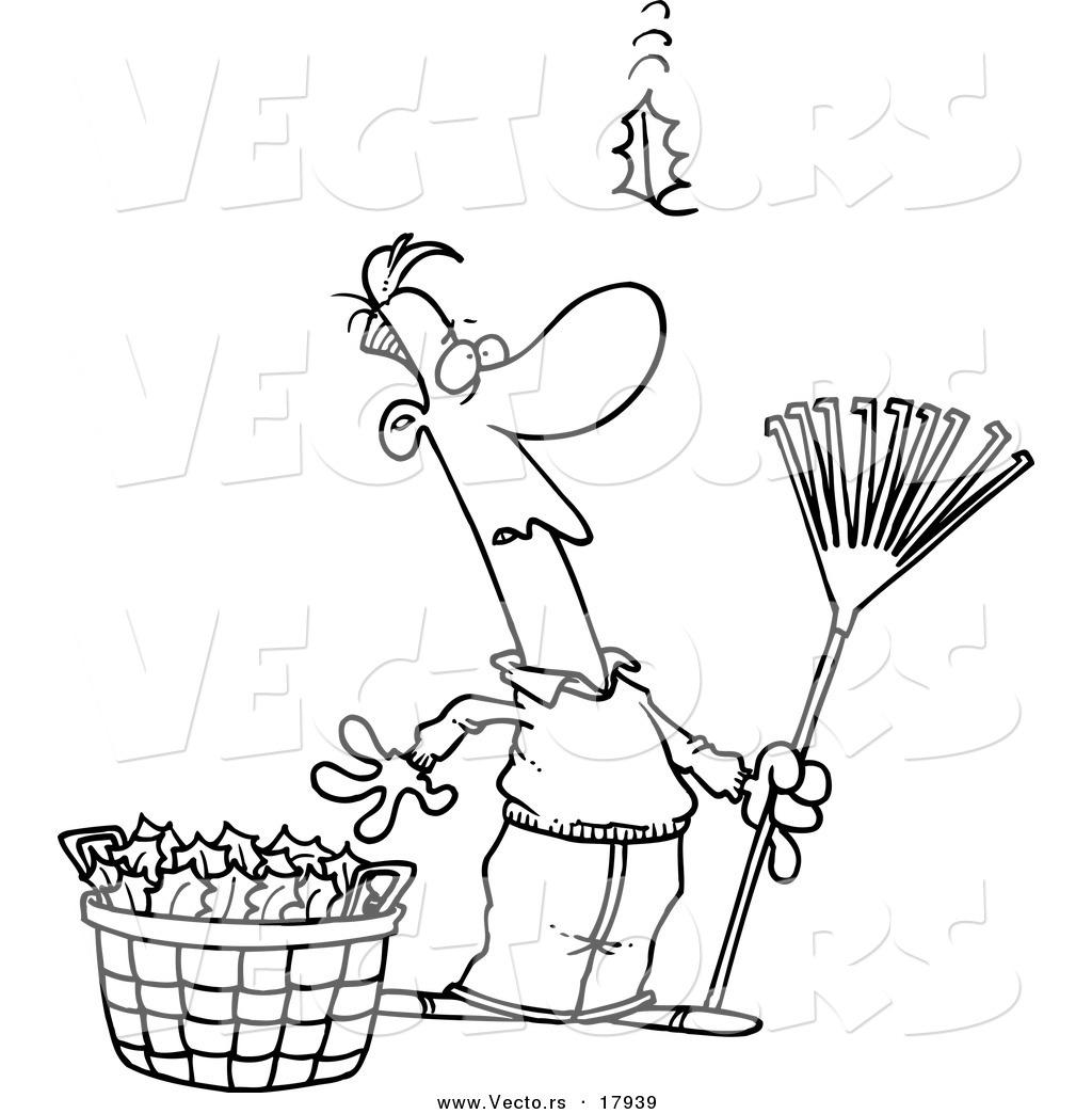 Vector of a Cartoon Man Raking Leaves, Watching yet ...