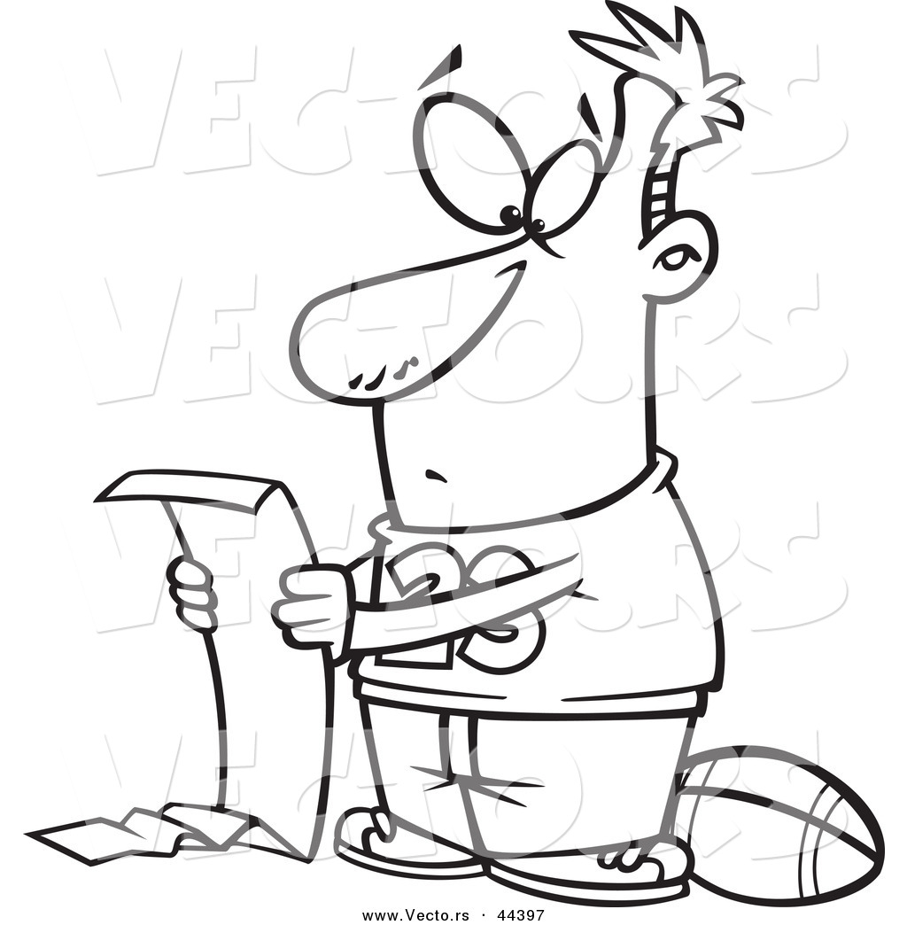 vector of a cartoon man reading a long to do list but wanting to