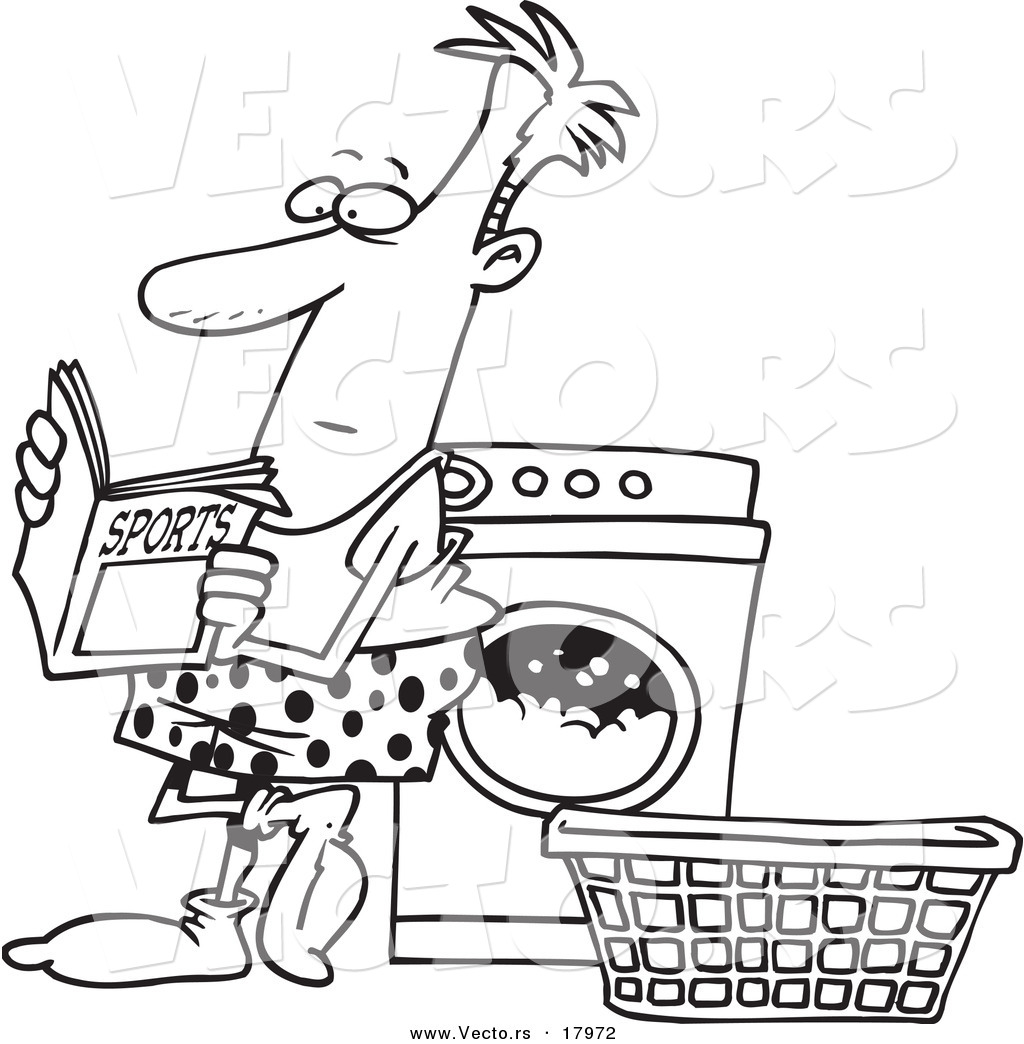Free coloring pages for reading - Vector Of A Cartoon Man Reading A Sports Magazine At A Laundromat Outlined Coloring Page