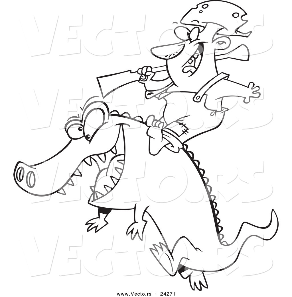 vector of a cartoon man riding an alligator outlined coloring