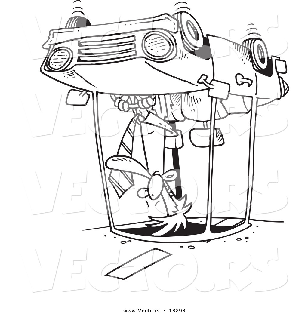 Vector Of A Cartoon Man Rolling His Car Outlined Coloring