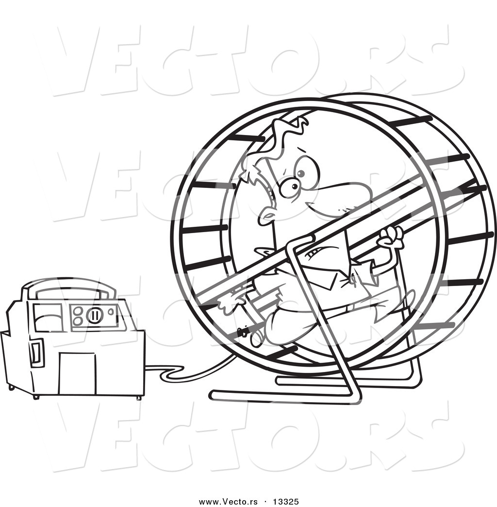 vector of a cartoon man running in a wheel to power a