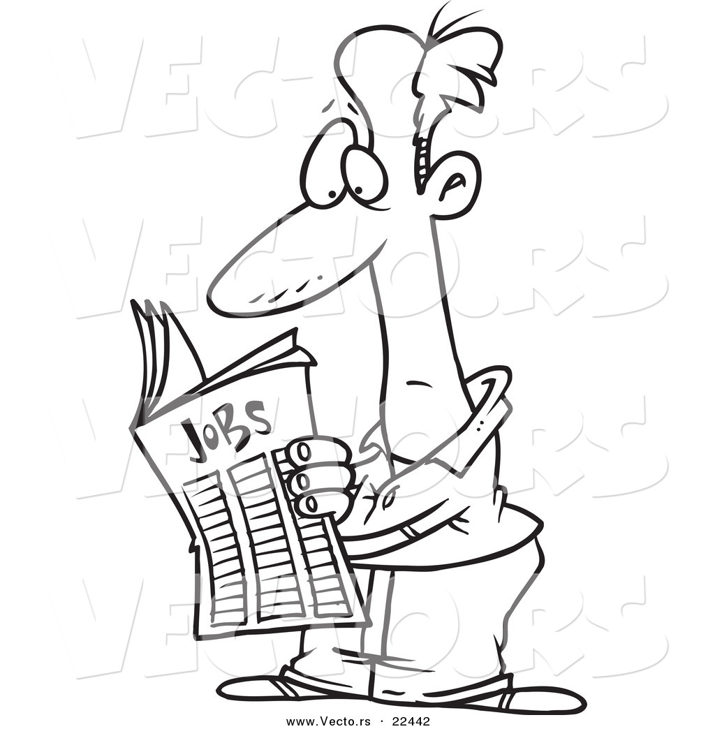 vector of a cartoon man seeking for a job in the classifieds vector of a cartoon man seeking for a job in the classifieds coloring page outline