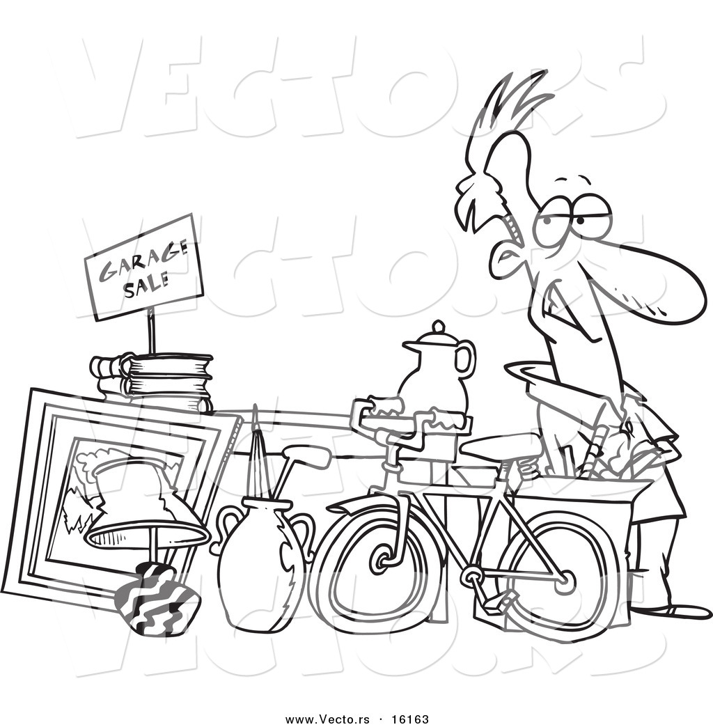 Vector of a Cartoon Man Selling His Stuff at a Yard Sale - Outlined ...